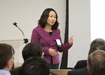 Grace Fu Palma, CEO of China Med Device, Speaks to a group of MedTech company executives