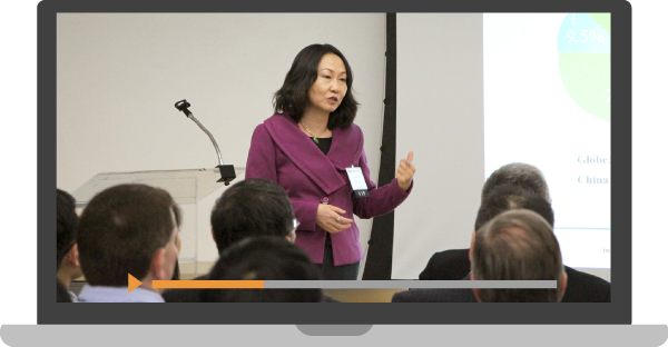 Illustration of a laptop computer showing Grace Fu Palma speaking during a presentation for a webinar